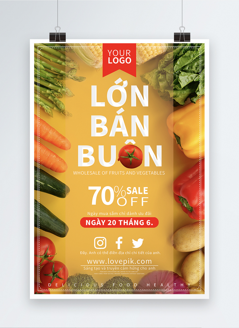 fruit and vegetable wholesale sale poster