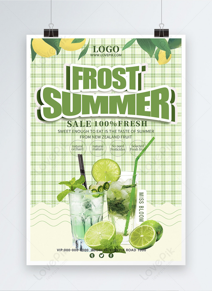 summer small clear drink promotion poster