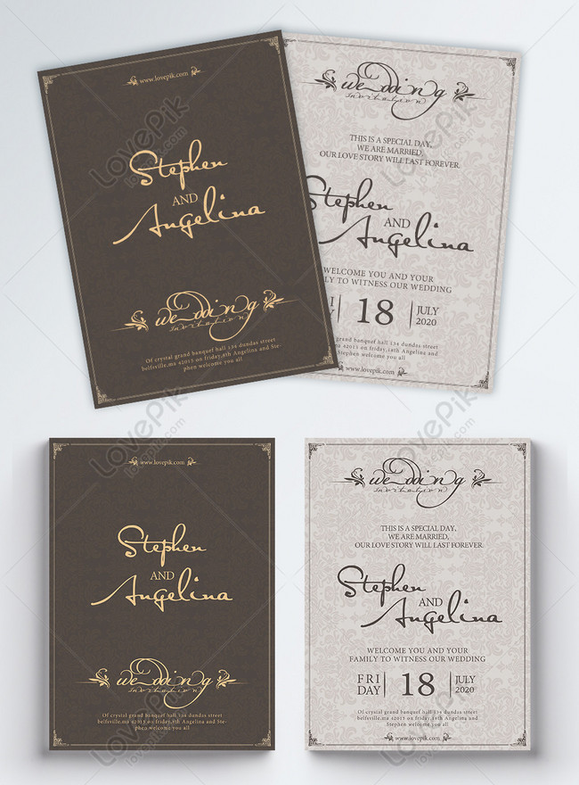 english handwritten wedding invitation design
