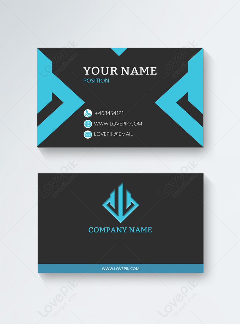 black and blue atmosphere stitching business card