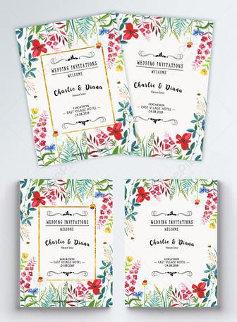फूल शादी के निमंत्रण टेम्पलेट टेम्पलेट्स