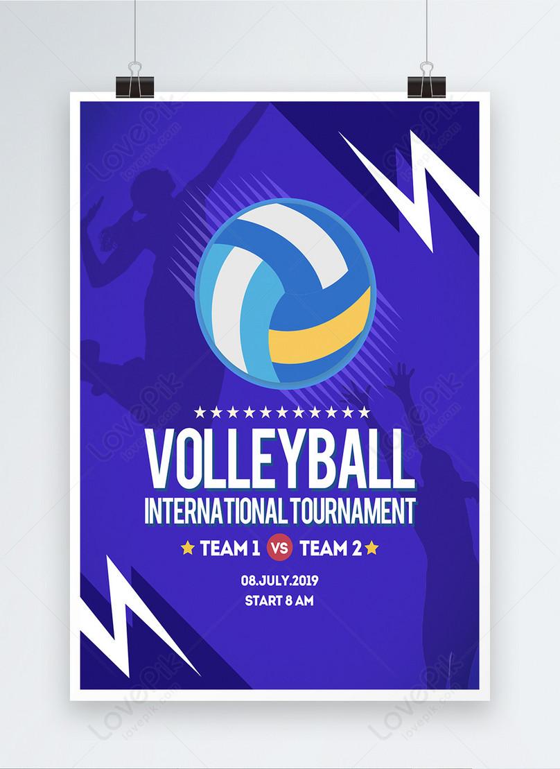 modern fashion color volleyball sports propaganda poster