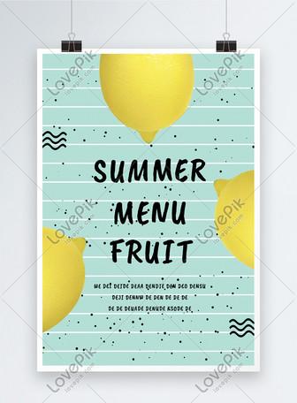 Cartel verde del limón del verano Plantillas