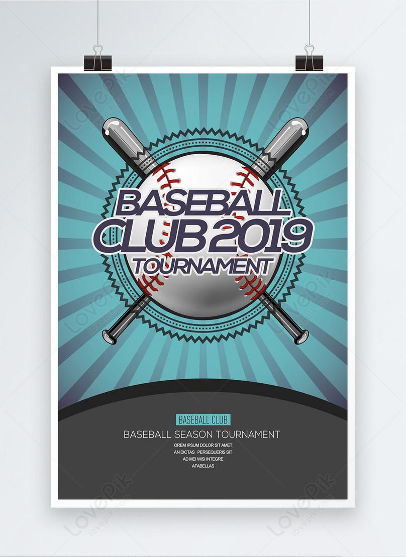 fashion cartoon simple baseball club match poster