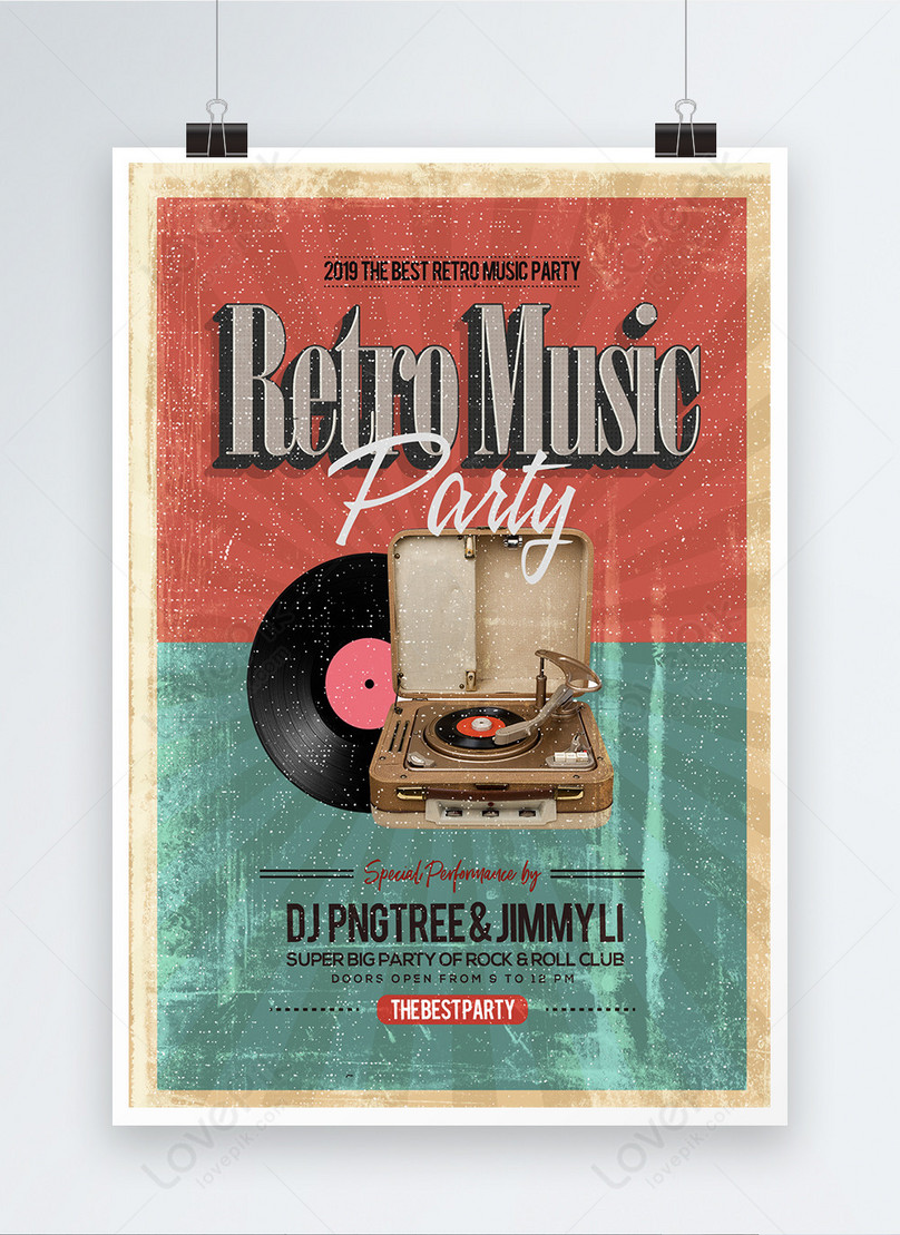 retro style music bar party poster