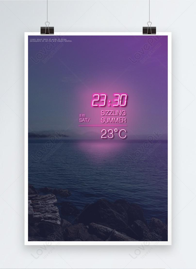 gradual beach pink neon font posters