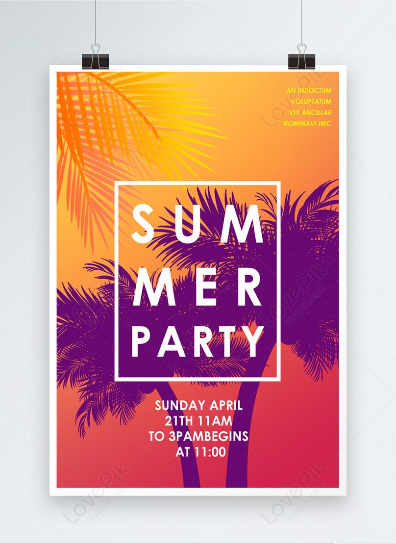 gradual summer beach party creative activities poster