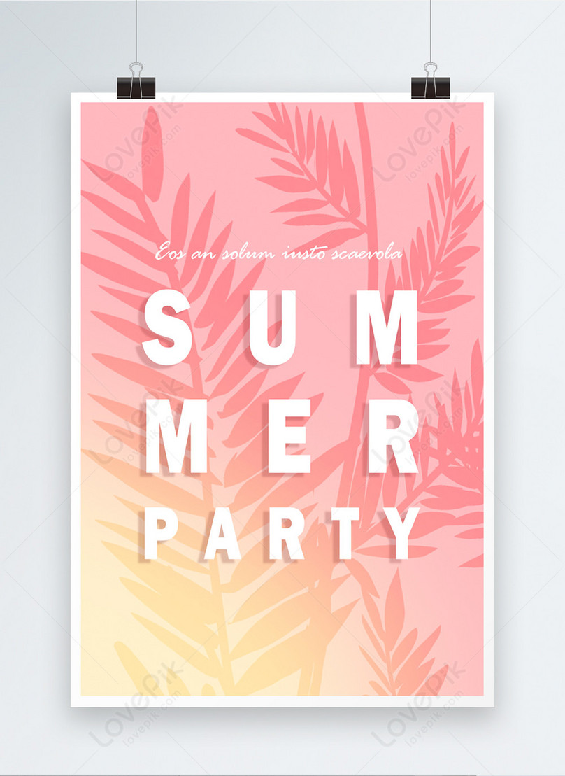 pink gradual tropical green plants summer party poster