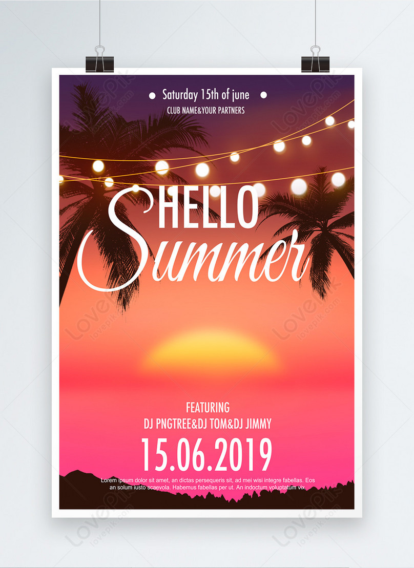 pink sunset tropical plants summer poster