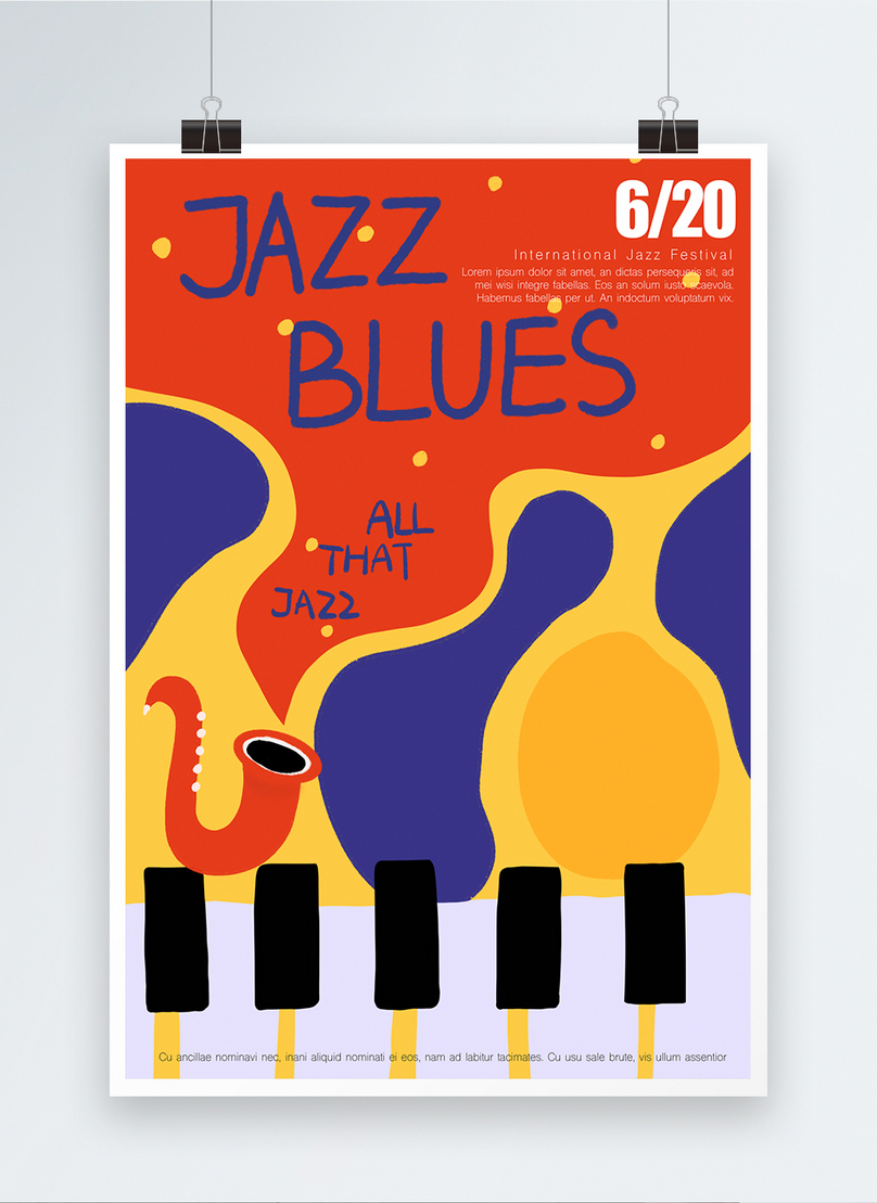 hand painted posters for orange jazz blues music activities