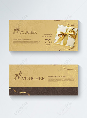 Golden Brown realistic style gift box with luxurious leaf base Templates