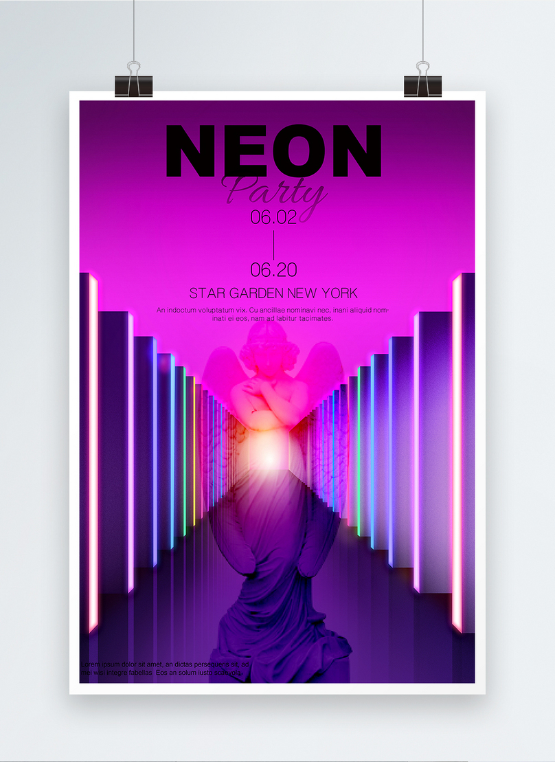 purple plaster like neon party poster