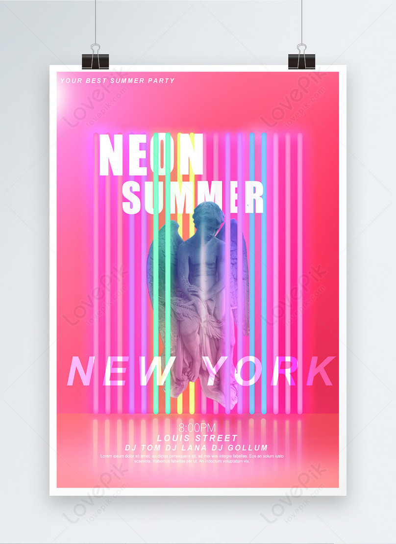 creative plaster like neon party posters