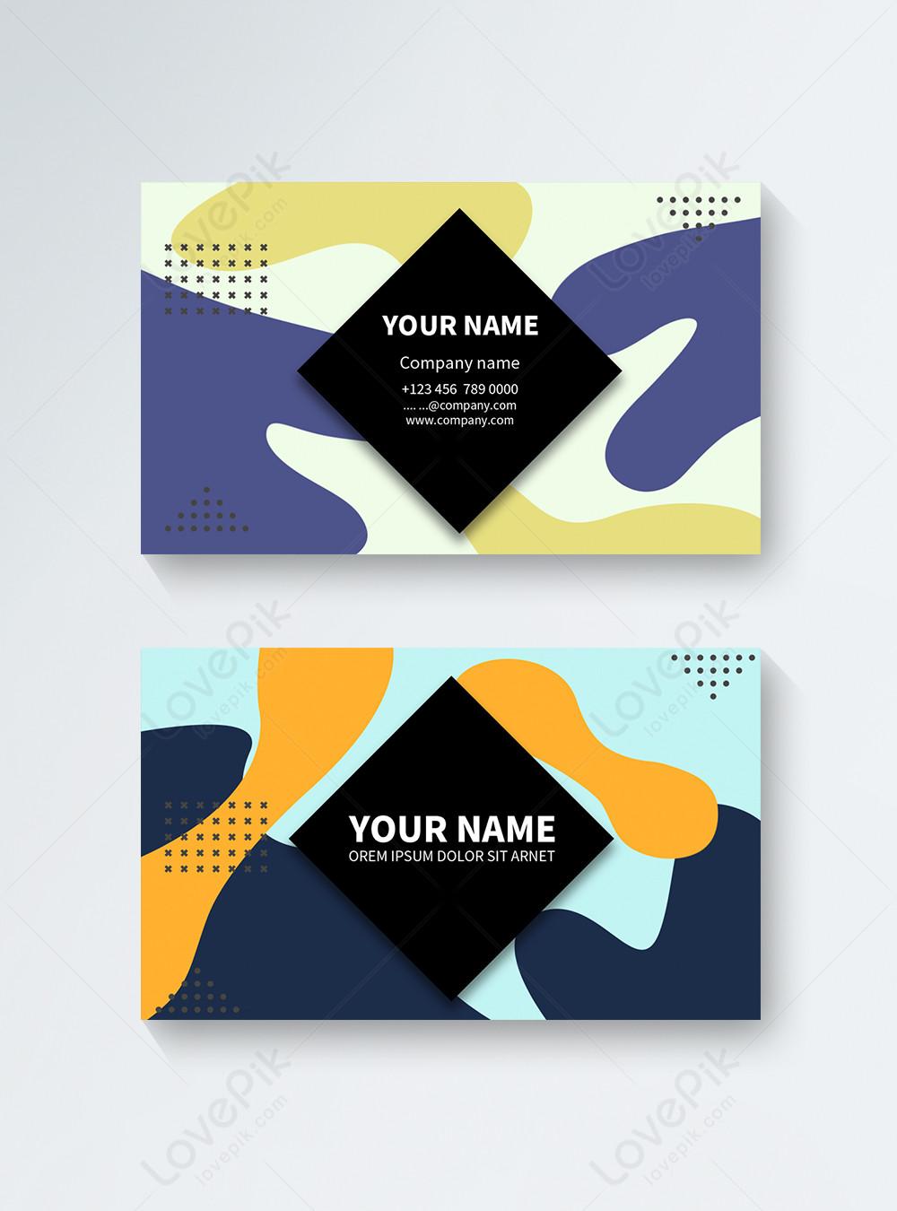 Color Memphis Fluid Color Shape Abstract Business Card