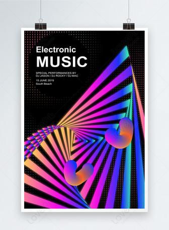 Poster Fluido Geométrico para o Festival de Música Gradual Abstr Modelos