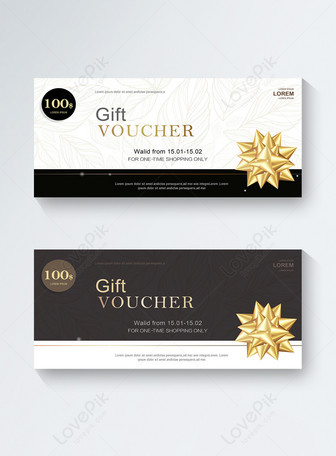 Golden Brown and White Realistic Shopping Gift Voucher Templates