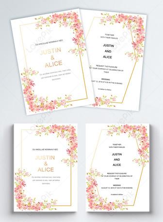 गुलाबी फूल क्लस्टर हस्तनिर्मित सफेद शादी के निमंत्रण पत्र टेम्पलेट्स