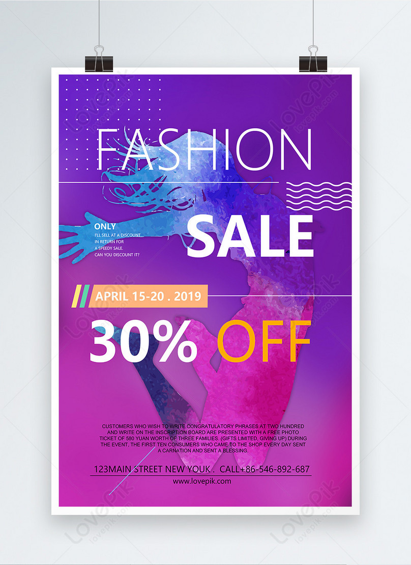 purple fashion sale poster