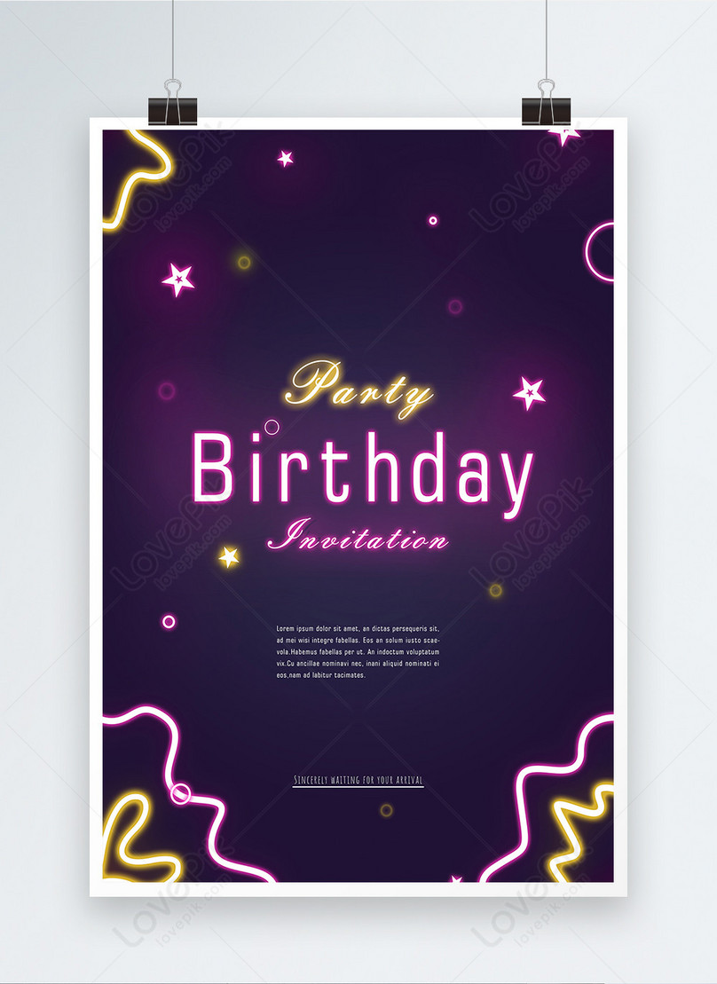 purple neon effect birthday party poster