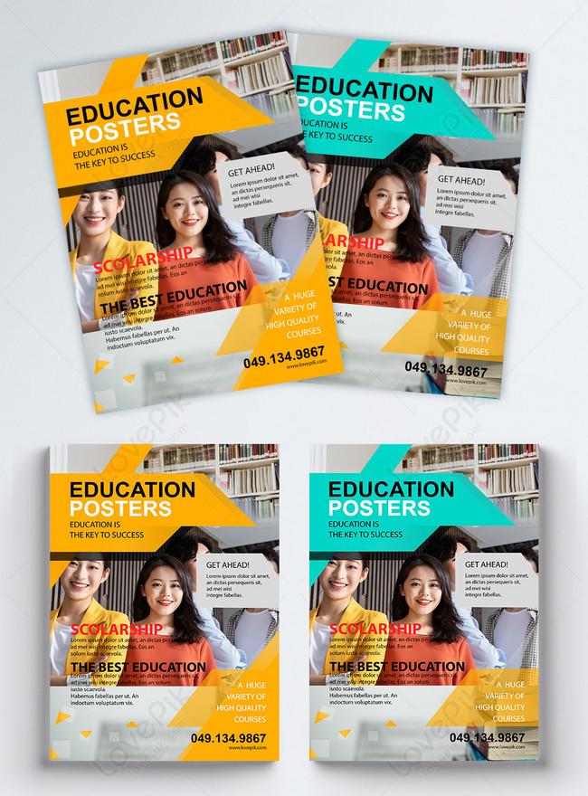 geometric color block stitching education flyer