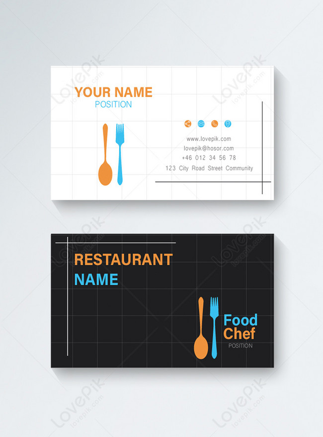casual restaurant chef business card