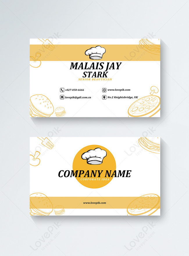 modern style chef business card