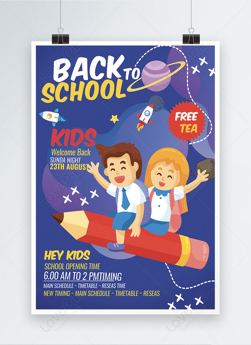 blue color back to school unique poster template