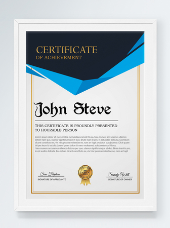 Horizontal diploma and certificate template template