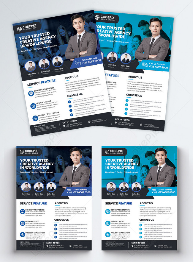 blue business company flyer