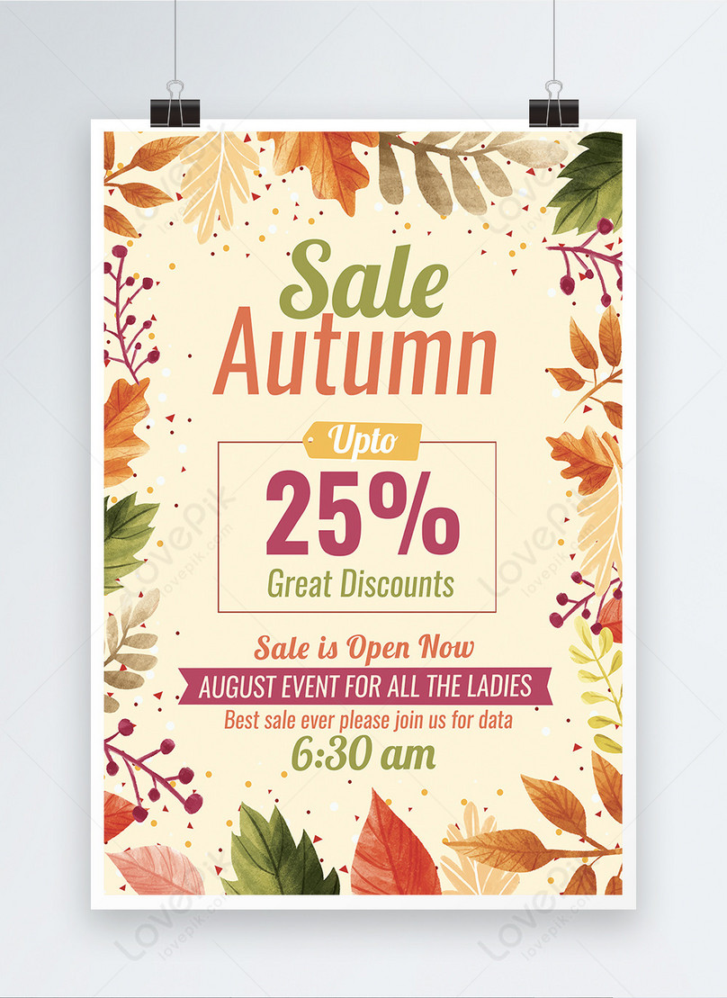 autumn sale discount poster template