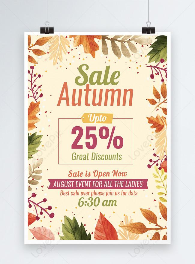 templat poster diskon penjualan musim gugur