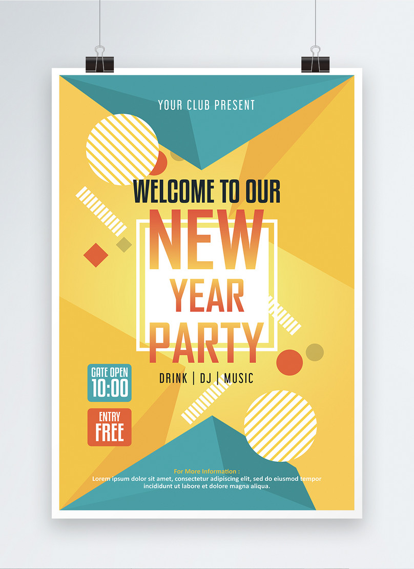 yellow new year holiday poster