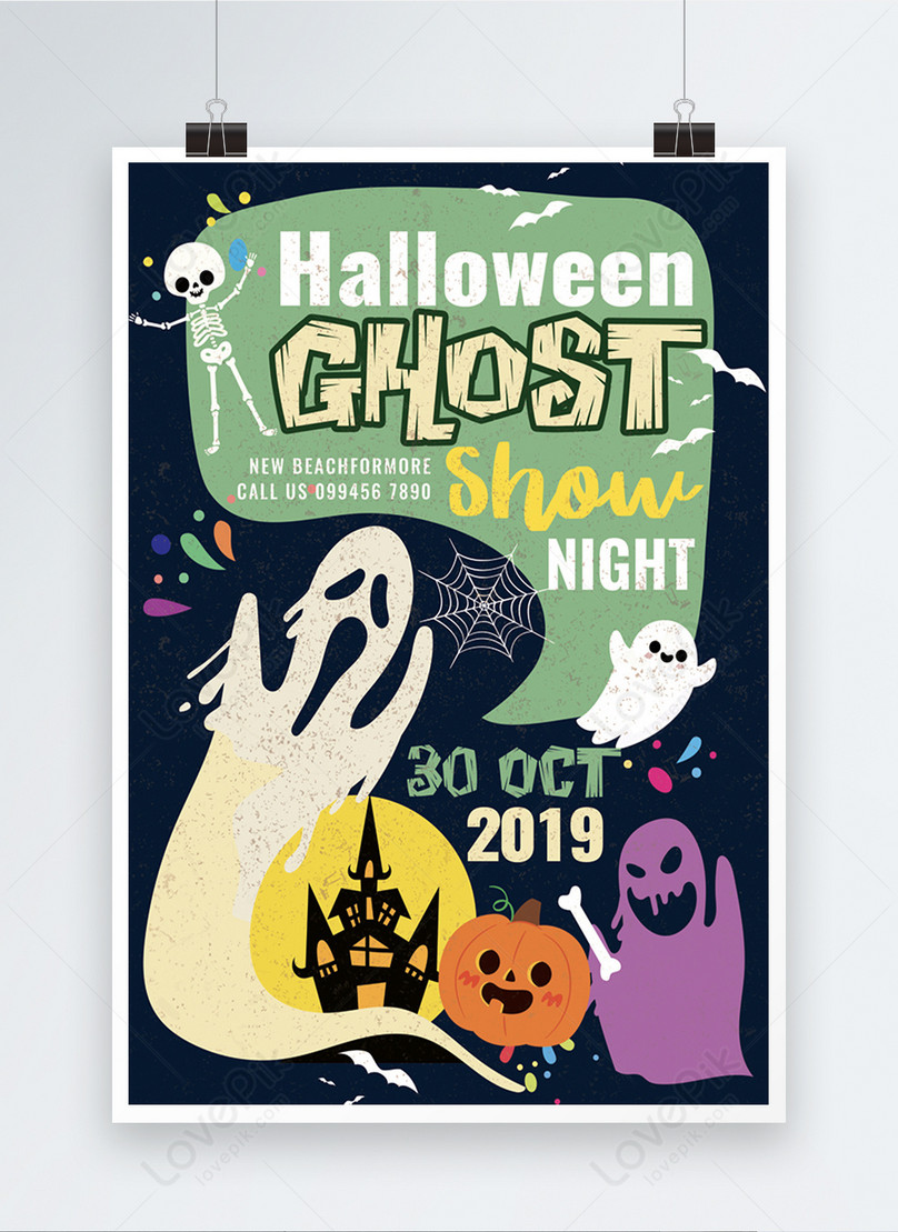 modello di poster vintage halloween ghost party