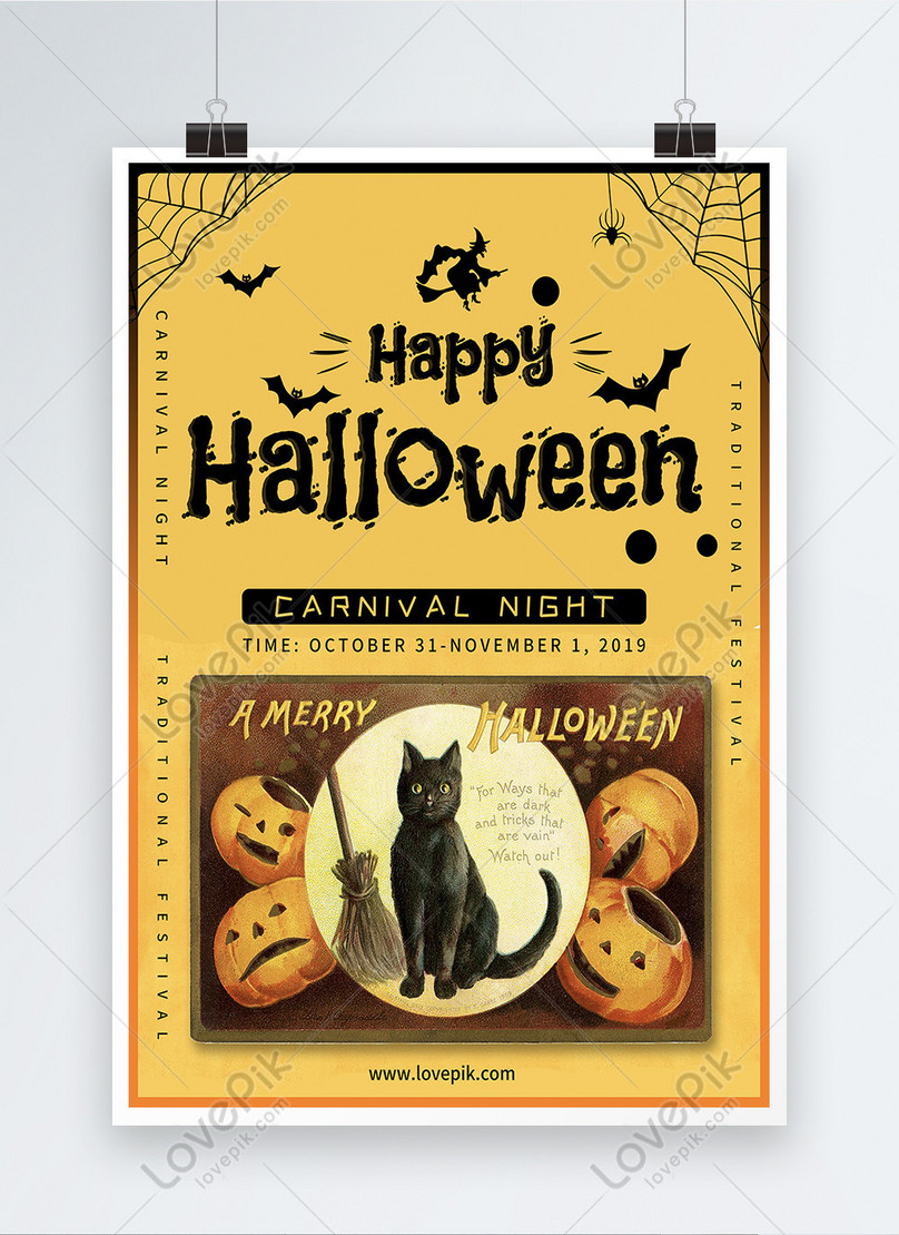 vector illustration carnival night halloween poster