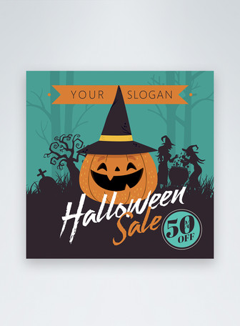 Green Dark Cartoon Style Halloween Promotion Instagram Post Mẫu