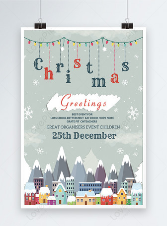 Poster Natal Merry Snowy Templat