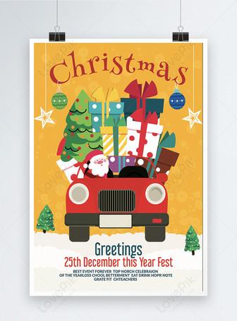 Poster Santa Hadir Dengan Gifta Natal Templat
