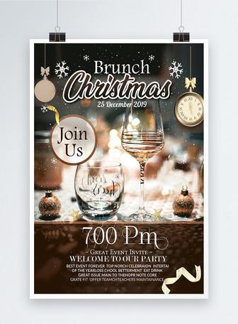 Poster Pesta Brunch Natal Templat