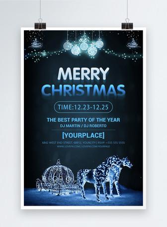 Poster Kristal Krismas Biru Templat