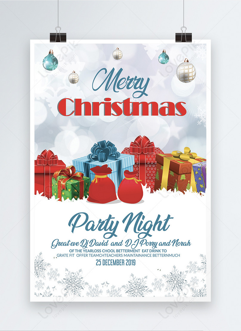 cartaz de noite de festa de natal com pilha de presentes