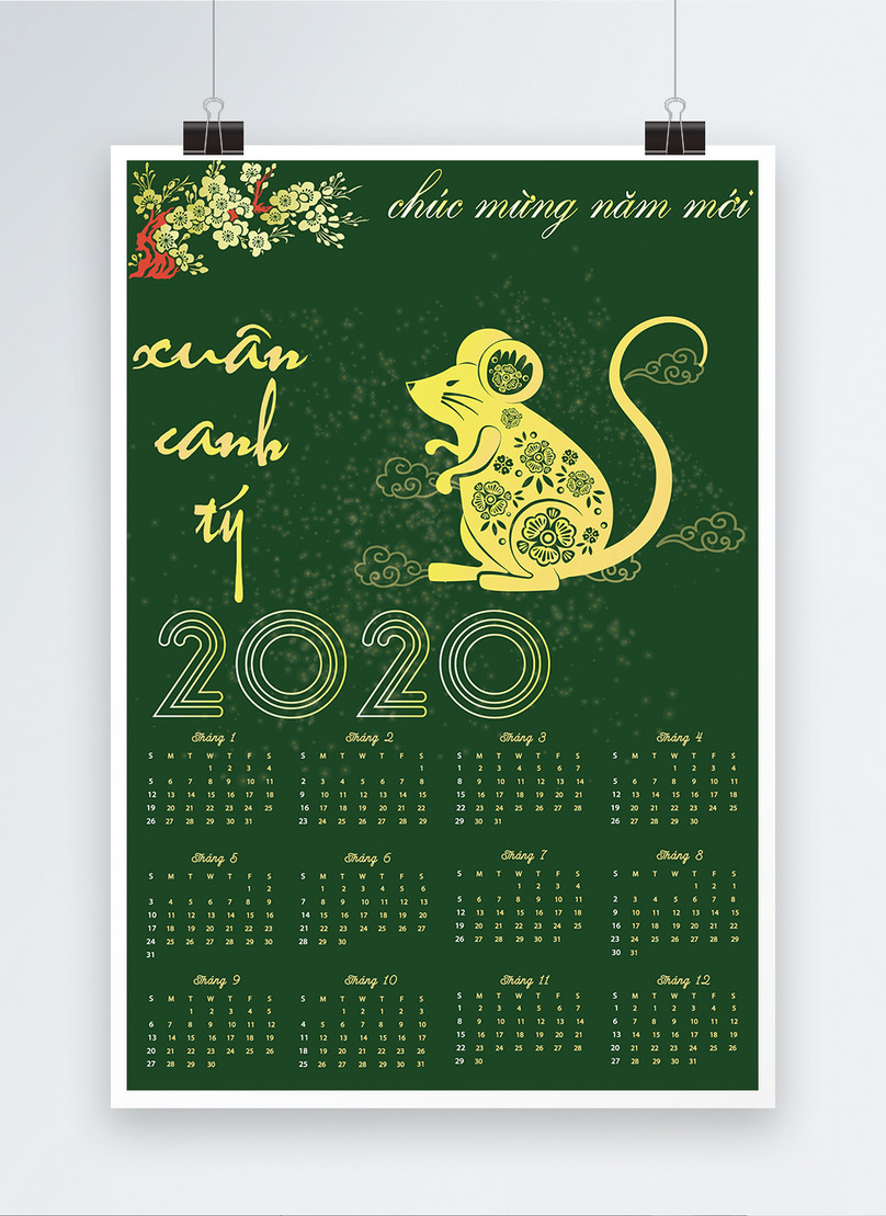 vietnamese green year of the rat calendar poster