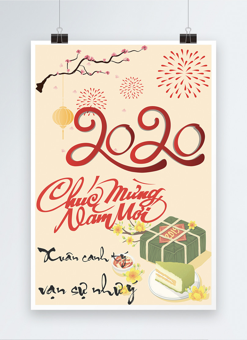 vietnamese new year year end big sale poster