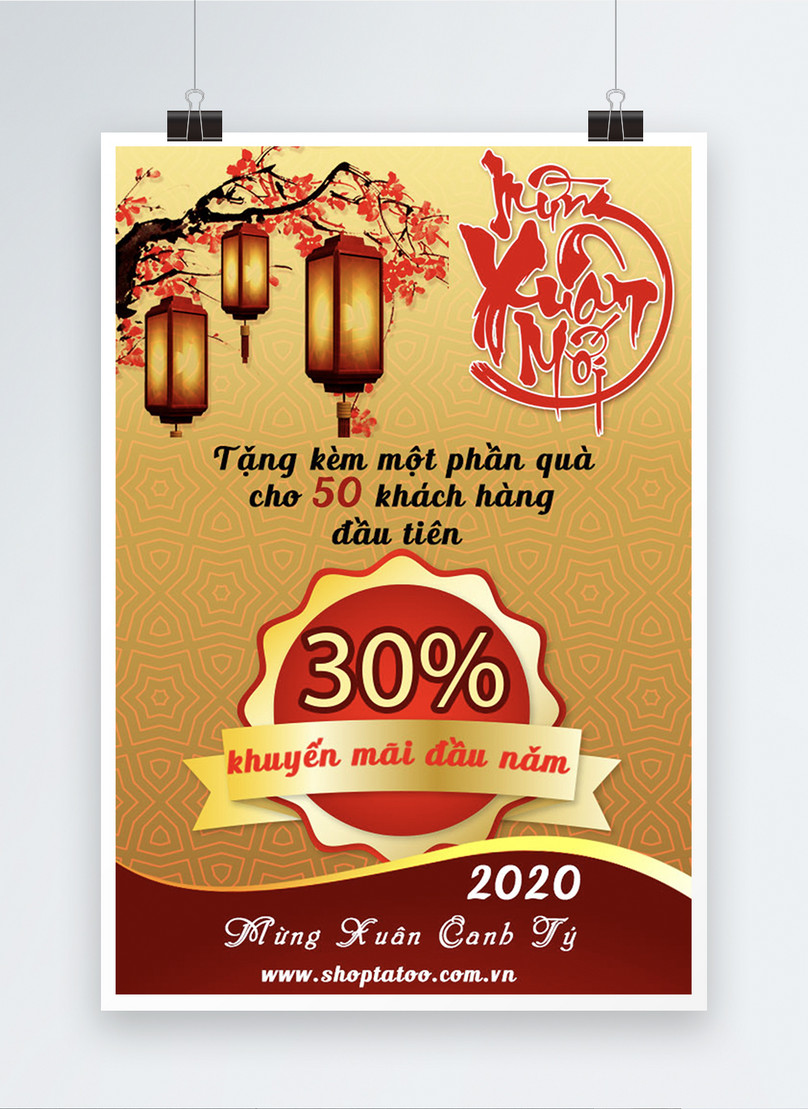 vietnamese new year promotion big sale poster