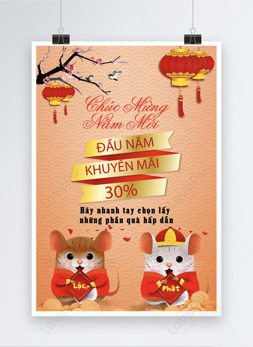 vietnamese new year year end discounts poster
