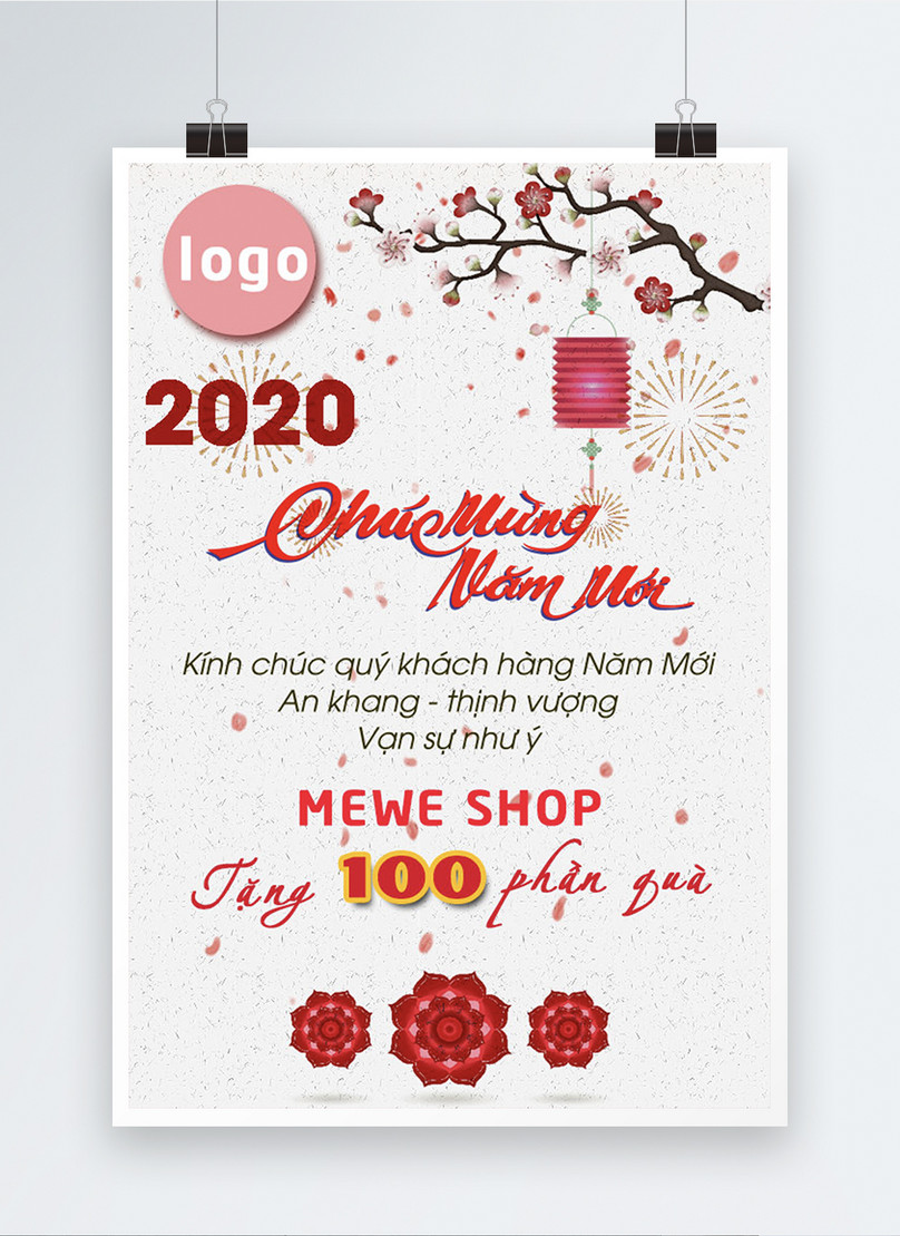 vietnamese happy new year big sale poster