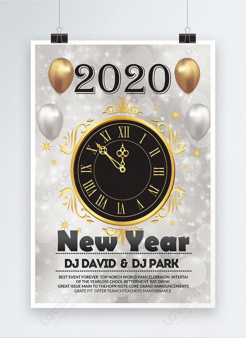 銀色新年快樂海報