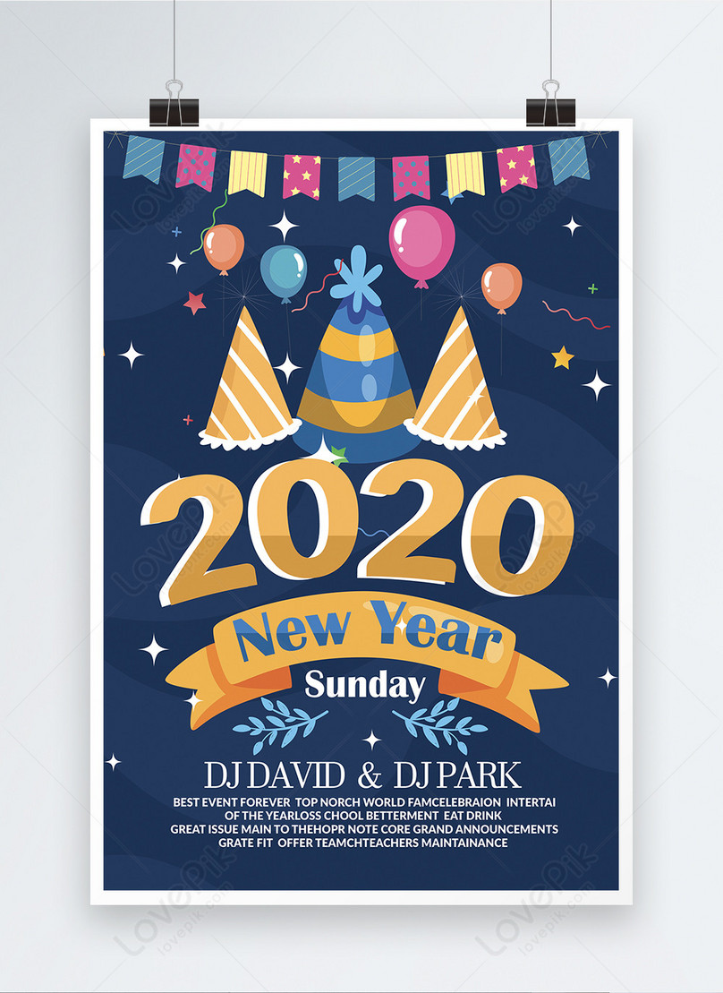 happy new year kids party poster