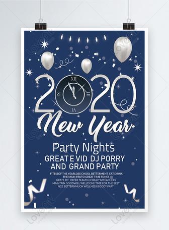 Affiche du nouvel an bleu et argent Modèles