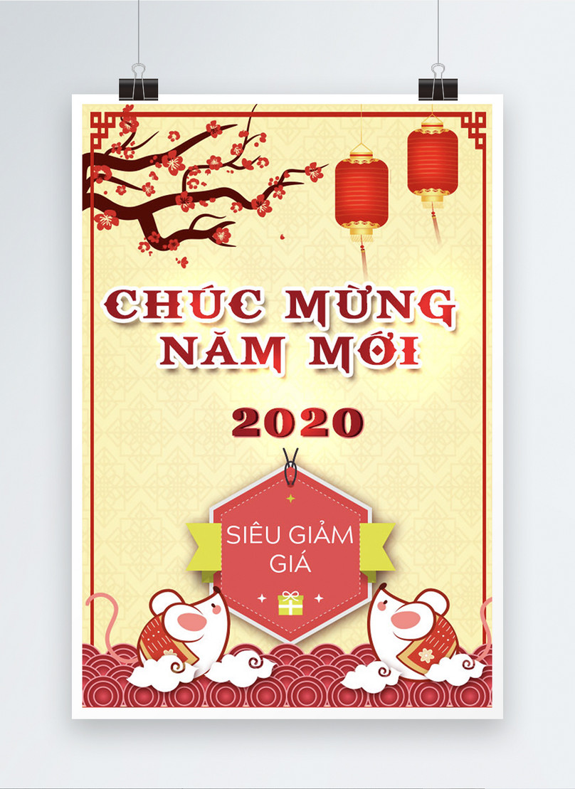vietnamese happy new year 2020 sale poster