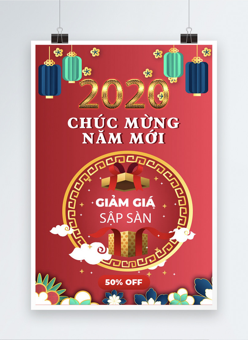 vietnamese happy new year year end sale poster